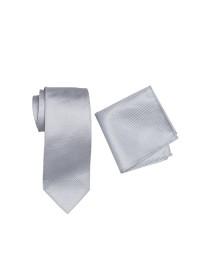 Breeze Mens Tie And Pocket Hank Set Silver