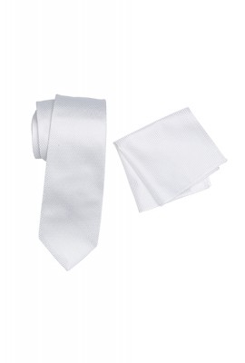 Breeze Mens Tie And Pocket Hank Set White