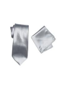 Hire Satin Hank & Tie set Silver