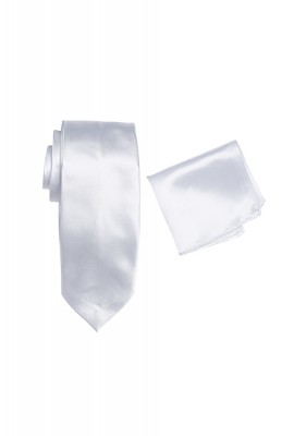 Hire Satin Hank & Tie set White