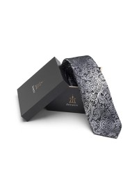 Mens silk long tie & hank set ZTH025 Black