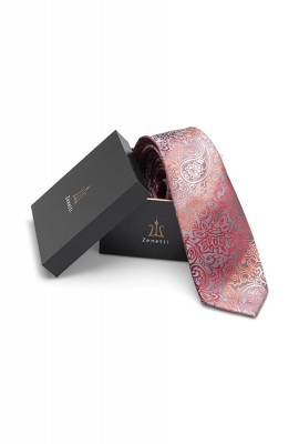 Mens silk long tie & hank set ZTH025 Coral