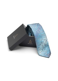 Mens silk long tie & hank set ZTH025 Teal
