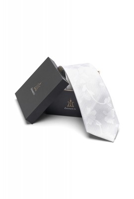 Zenetti silk tie and Pocket Square box set white