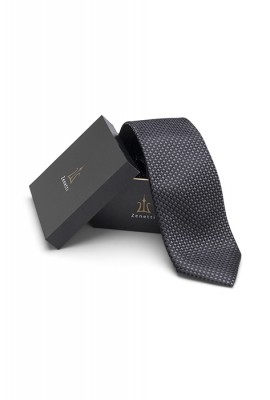 ZTH030 Zenetti silk tie and hank box set Charcoal