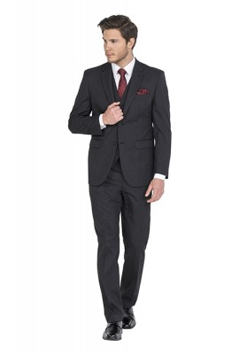 Barney Dark Grey Self Stripe Hire Suit