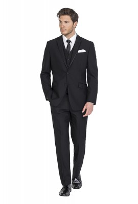 Cannes Black Slim Fit Hire Suit