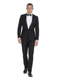 IJK046 Black Tailored Tuxedo Jacket