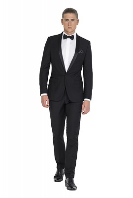 IJK046 Black Tailored Tuxedo Jacket