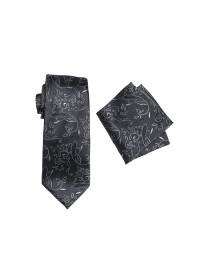 Umbria Charcoal Tie And Pocket Hank Set